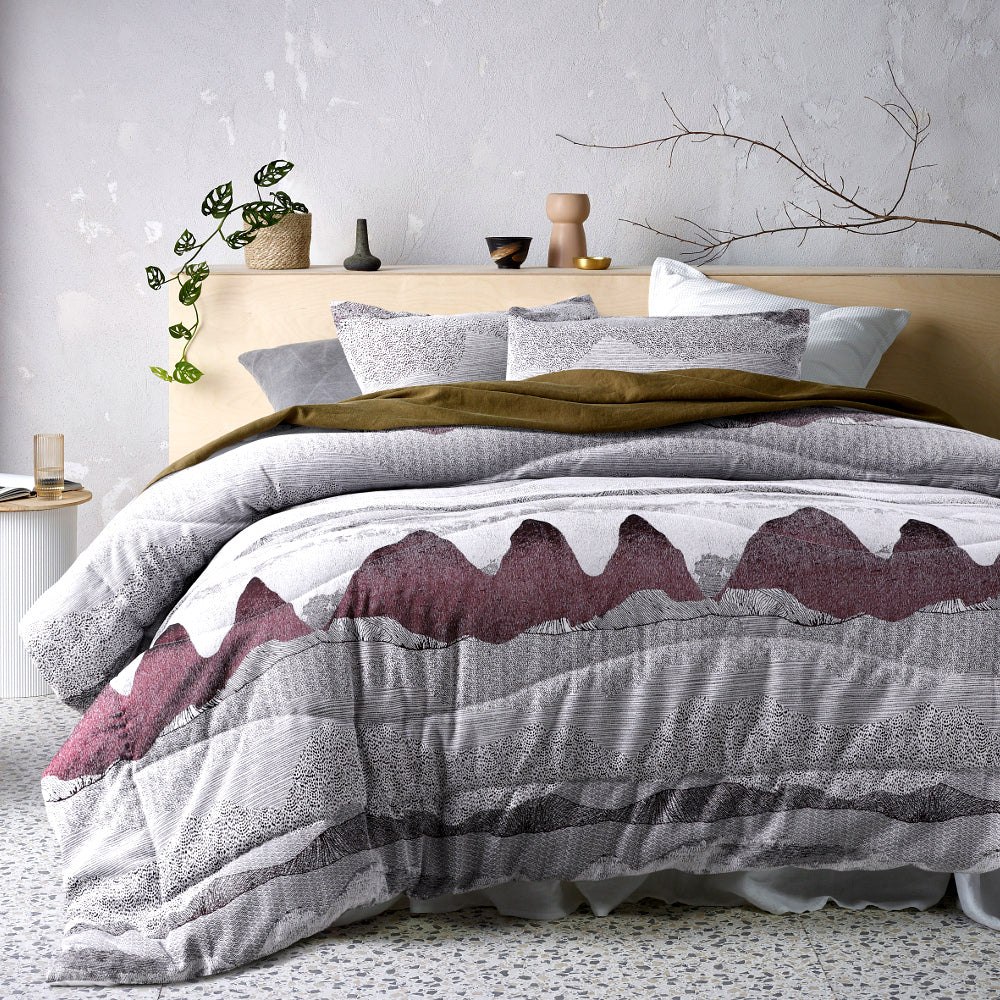 Bulla Burgundy Comforter Set - 3 piece