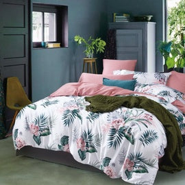 blush pink whimsical print duvet cover set