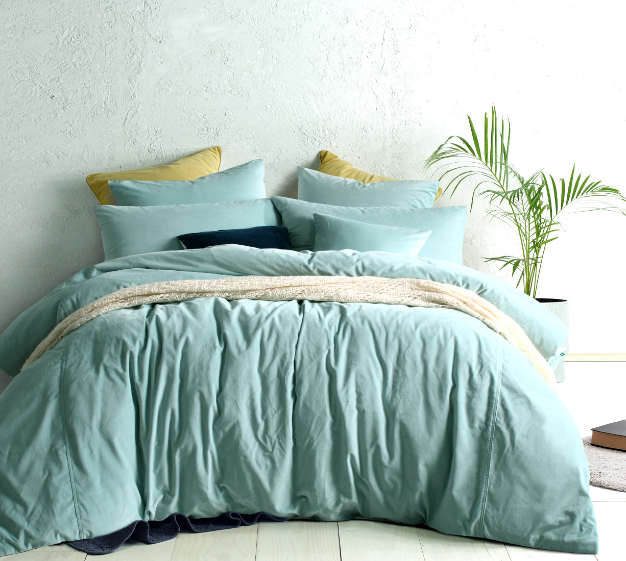 Mist Vintage Velvet cotton quilt / duvet cover set with pillowcases