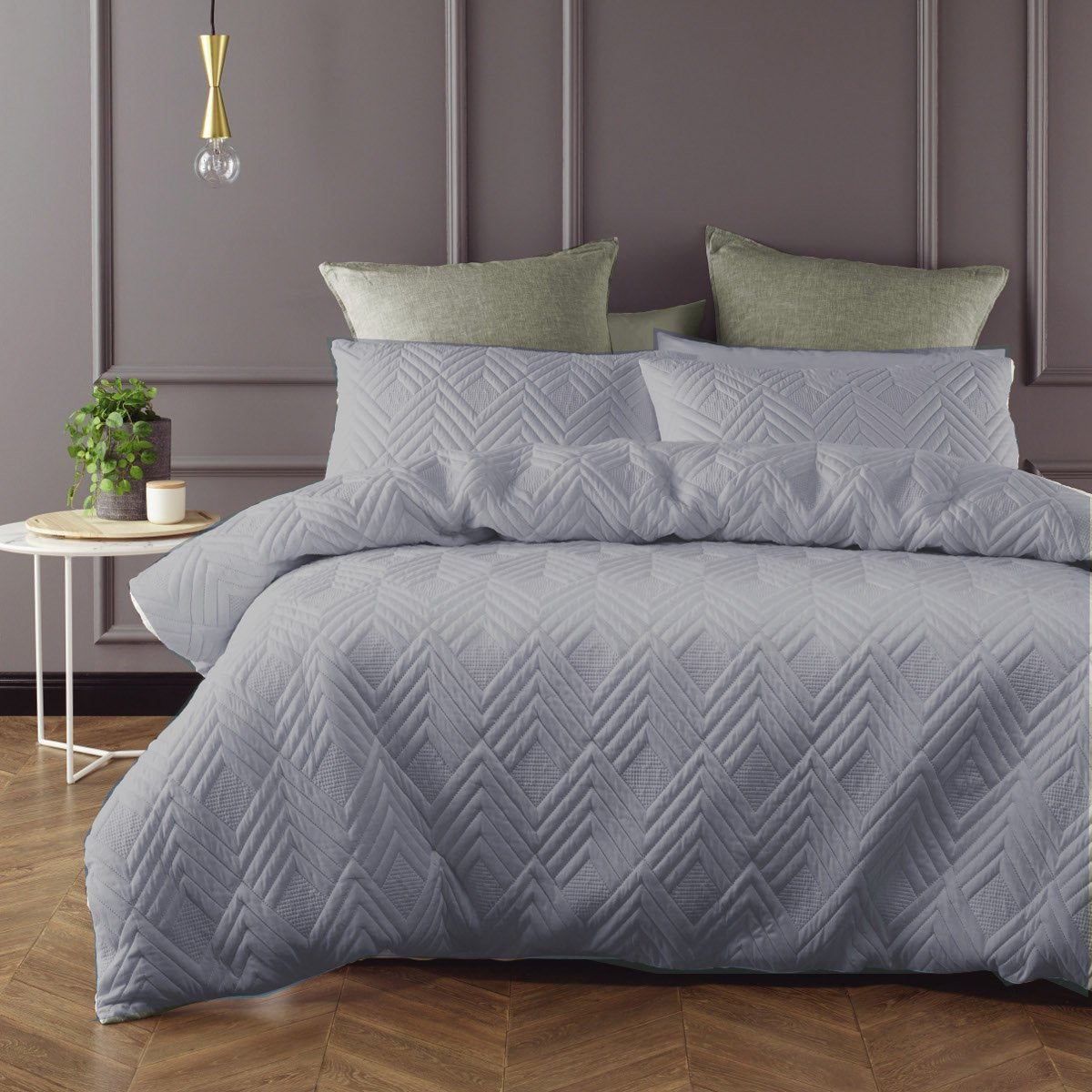 Grey duvet cover set is Sophisticated, Minimal and understated addition with the quilted effect fabric.