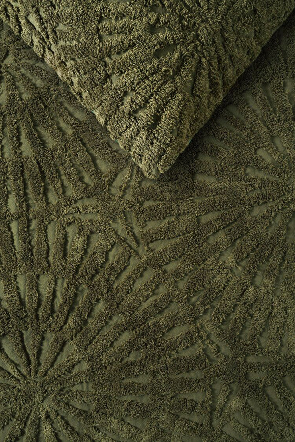 Cotton Chenille Olive Quilt Cover