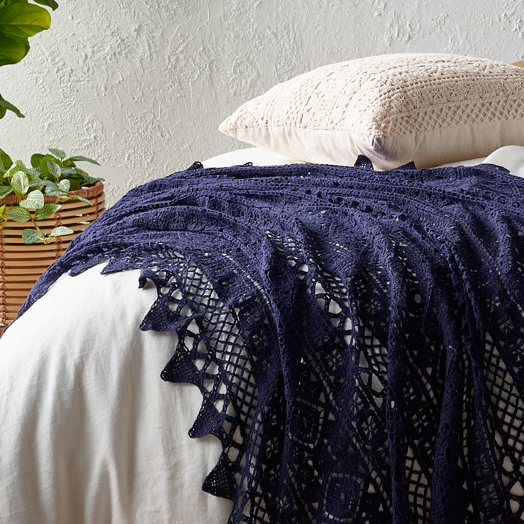 Crochet Throw - Pure Cotton - 3 Colors