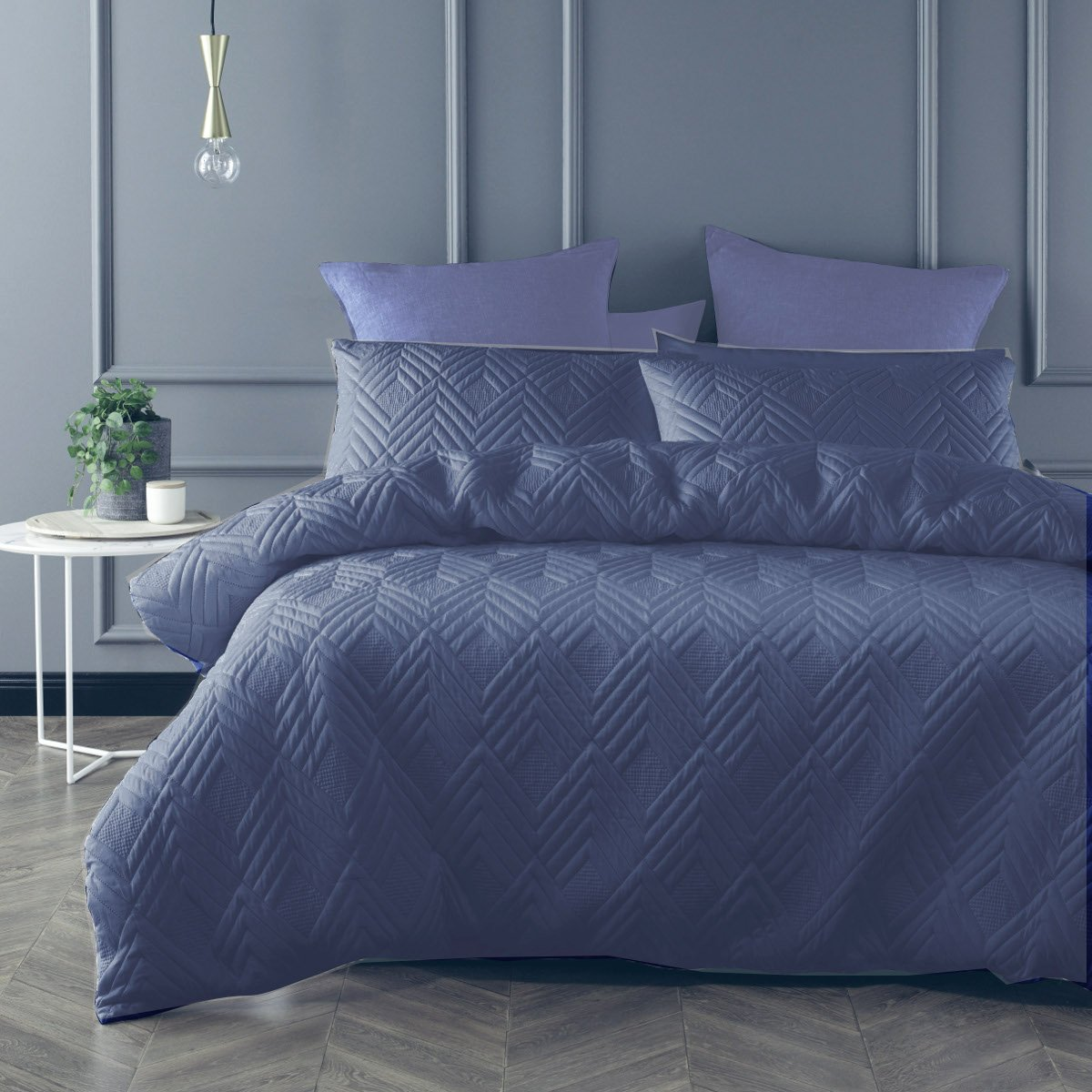 Denim Blue duvet cover set is Sophisticated, Minimal and understated addition with the quilted effect fabric.