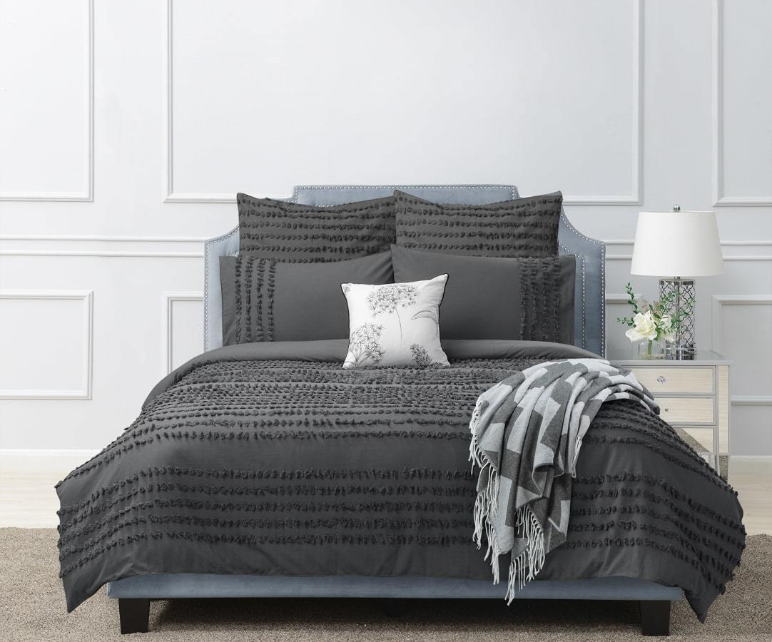 Dale Charcoal Quilt Cover Set