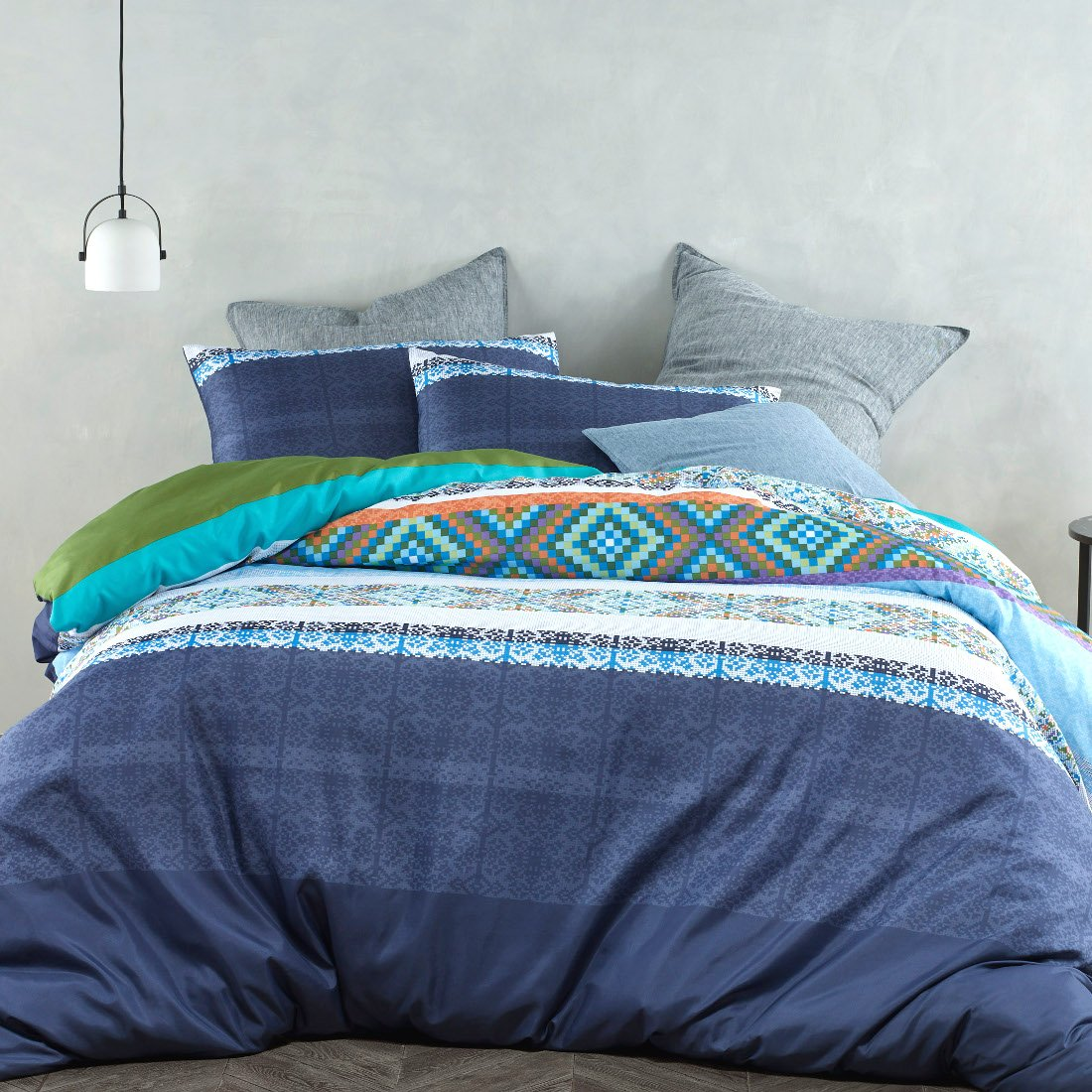 180TC blue quilt cover set