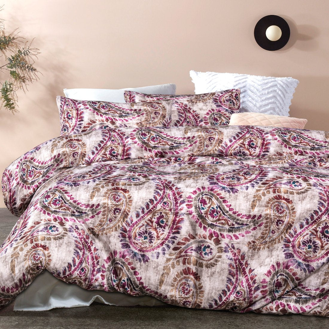 pink purple soft feel quilt cover set