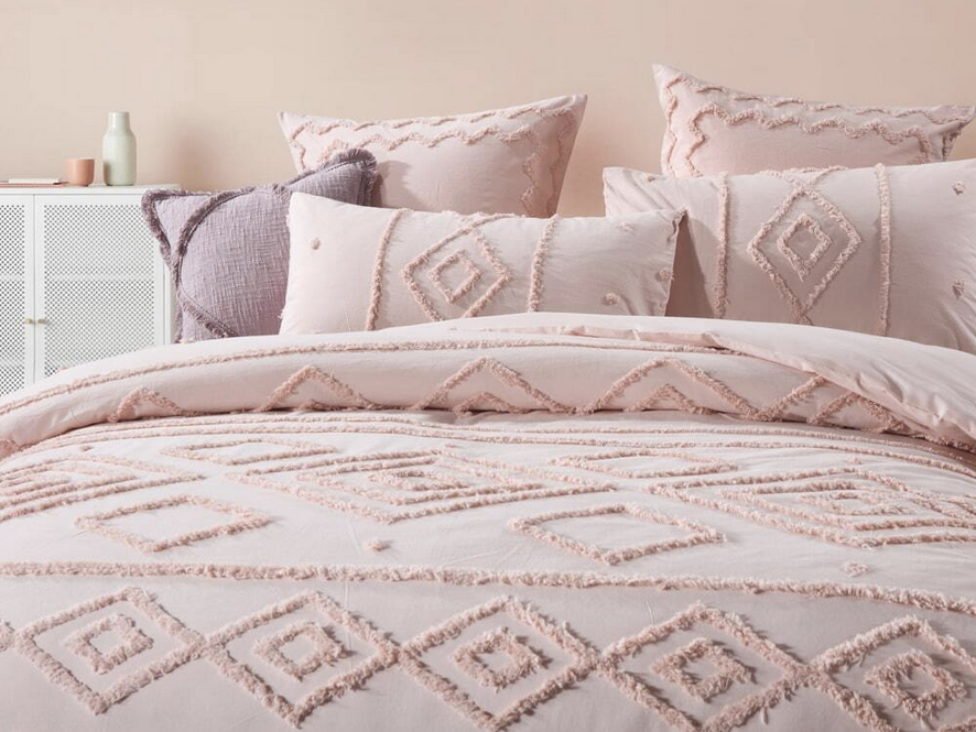 Ellise Peach Pink Quilt Cover Set