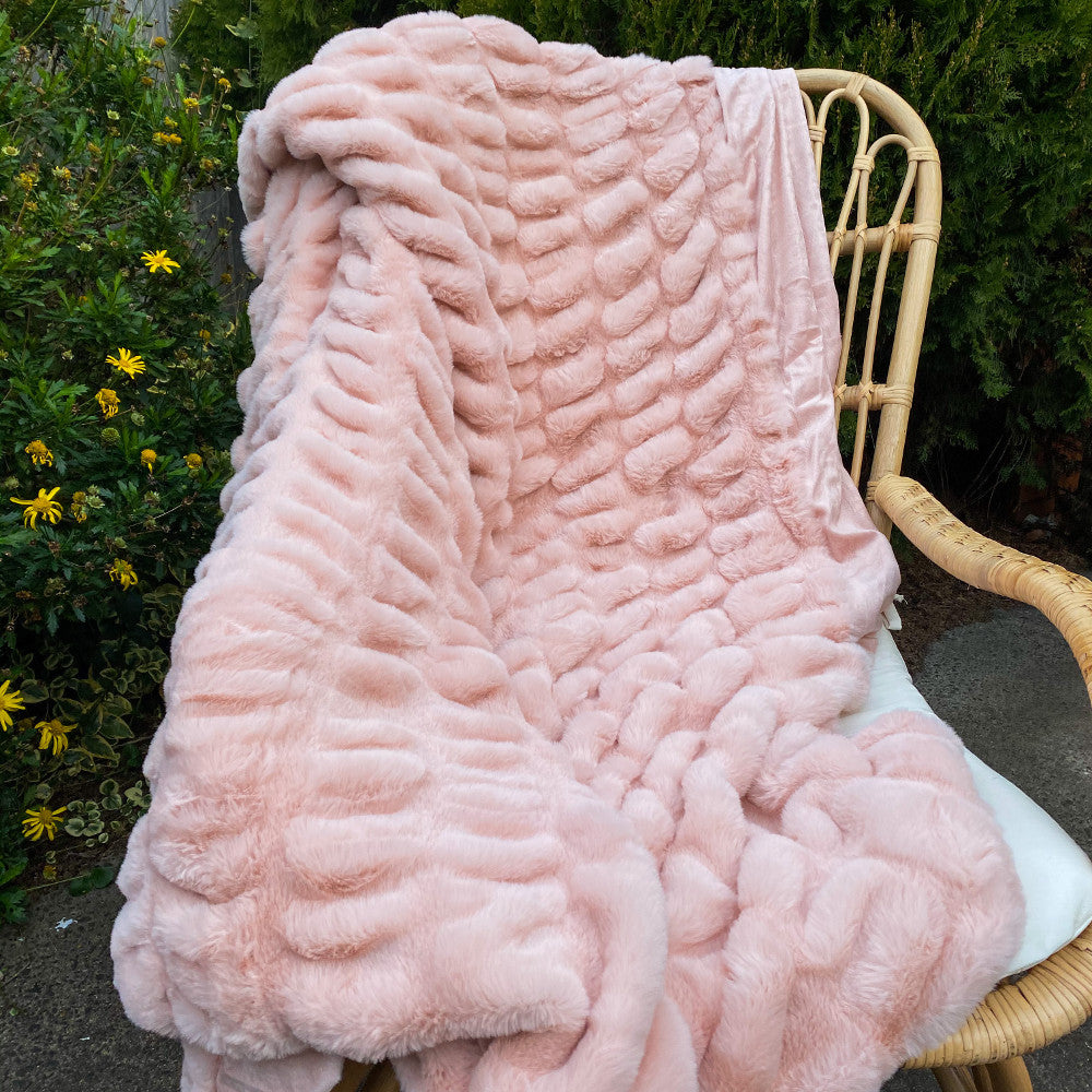 Fuax Fur Throw - Blush Colt
