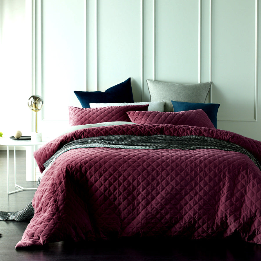 Ruby quilted cotton velvet duvet cover set