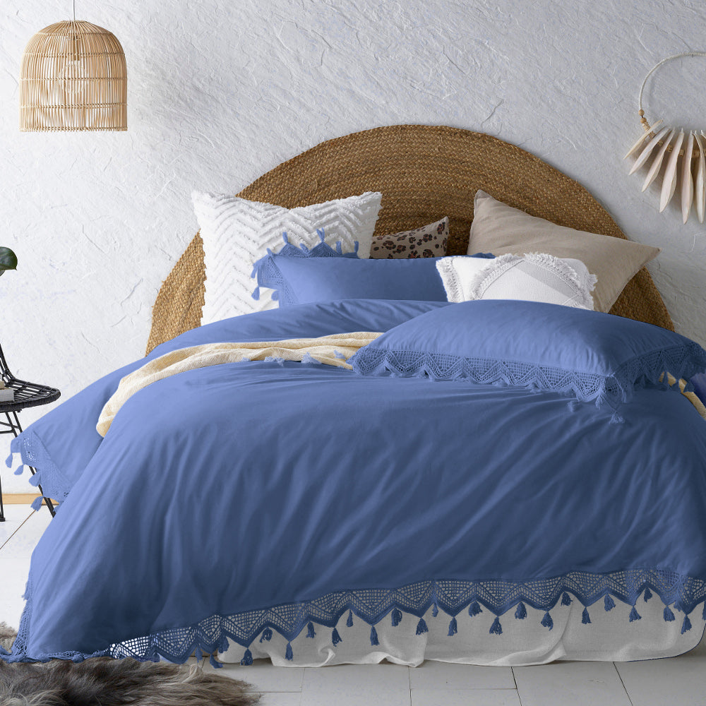 Gypsy Tassel Periwinkle Blue Quilt Cover Set