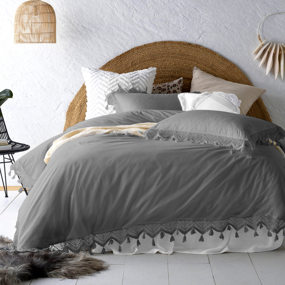 Gypsy Tassel Steele Grey Quilt Cover Set