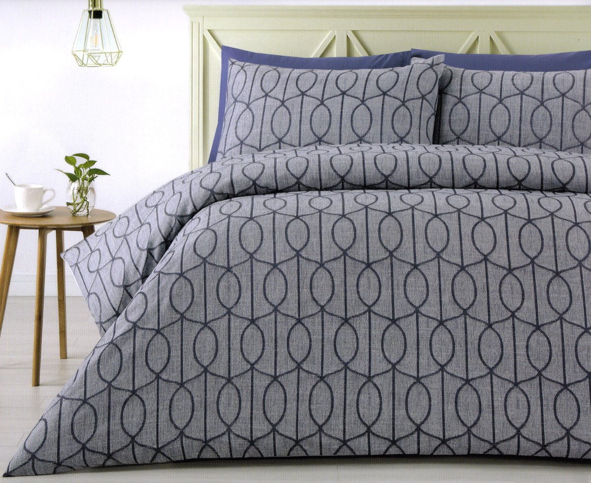 300TC blue duvet cover set. Polyester jacquard quilt cover set.