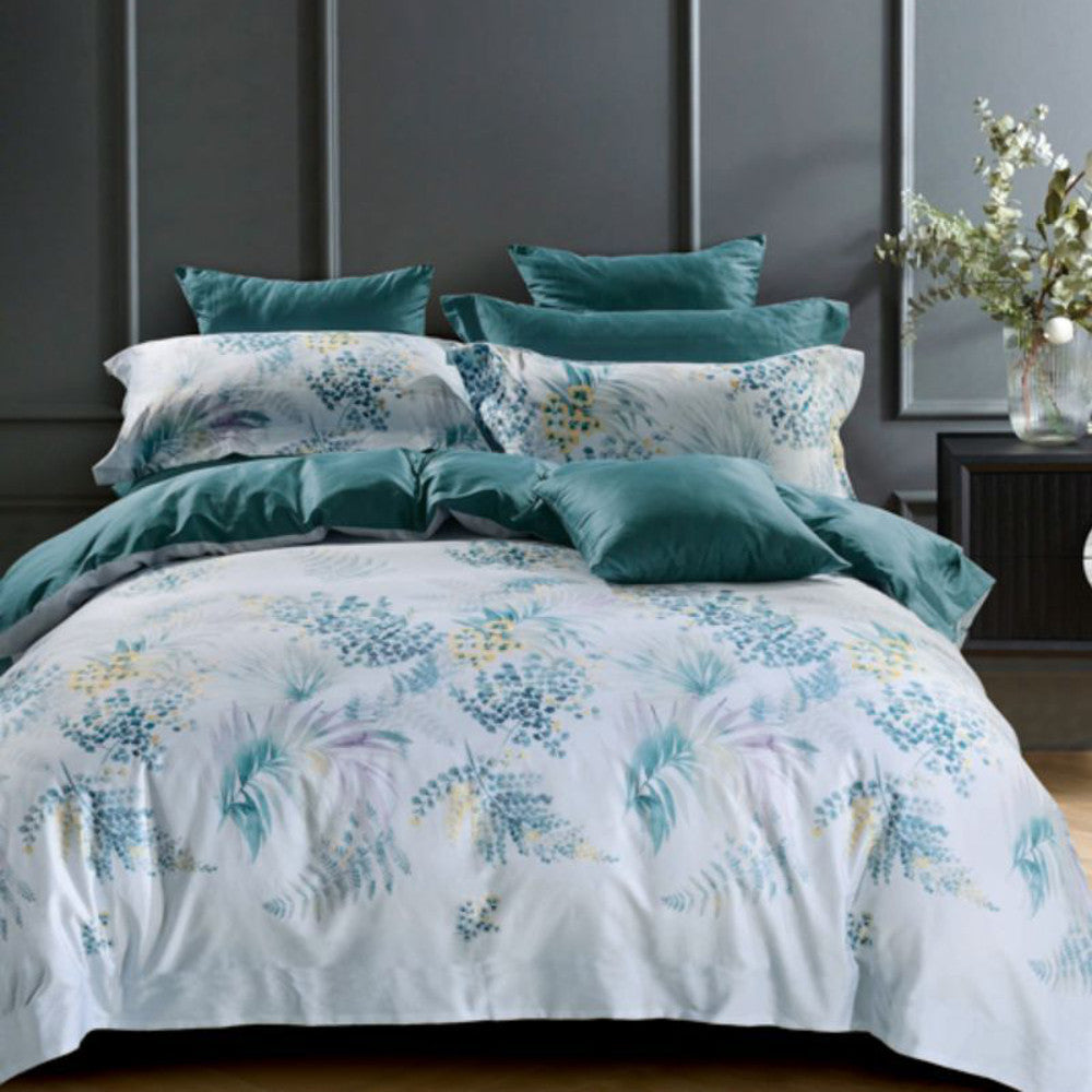 pastel blue queen king super king quilt cover set, 100% cotton with botanical print