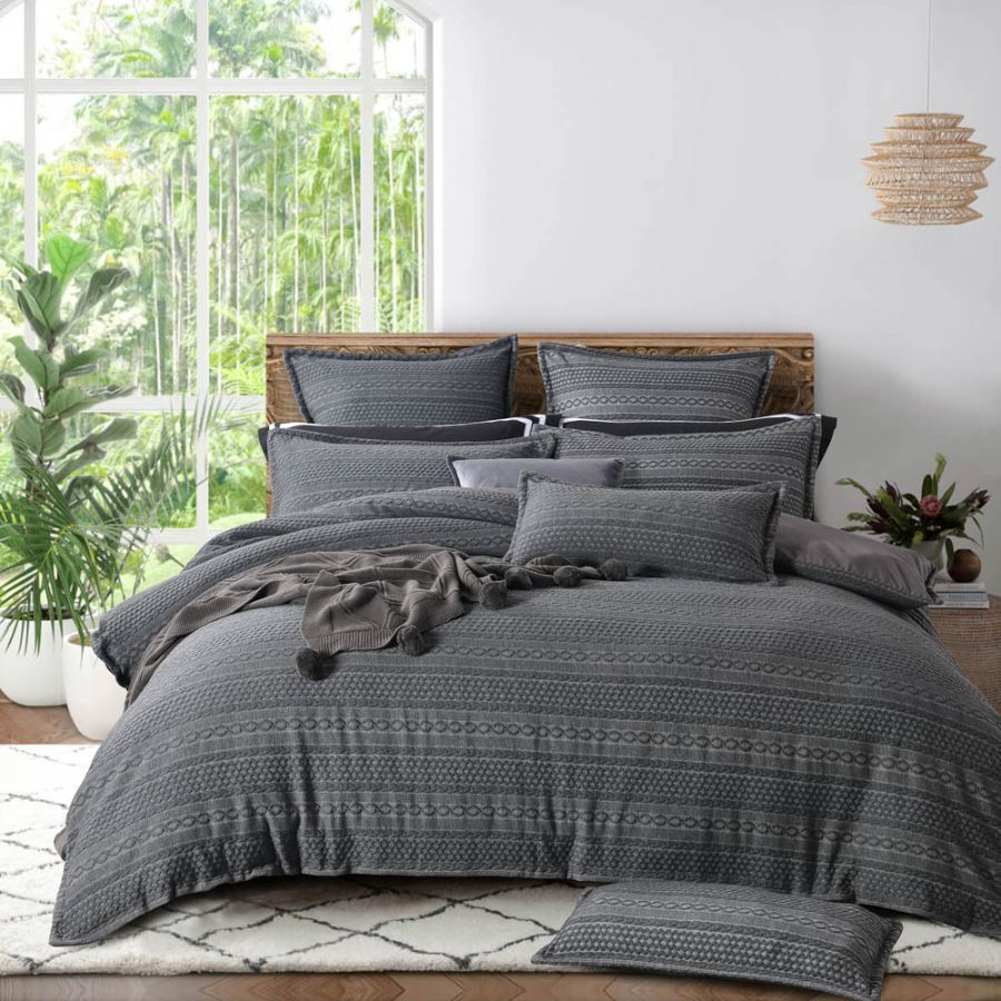 Ivy Charcoal grey duvet cover set textured