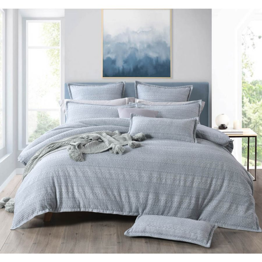 ivy silver grey duvet cover set textured