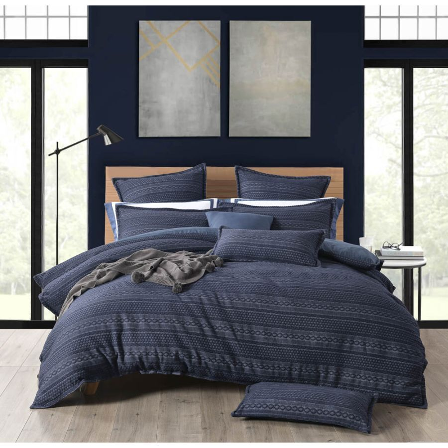 Ivy Navy Blue duvet cover set textured