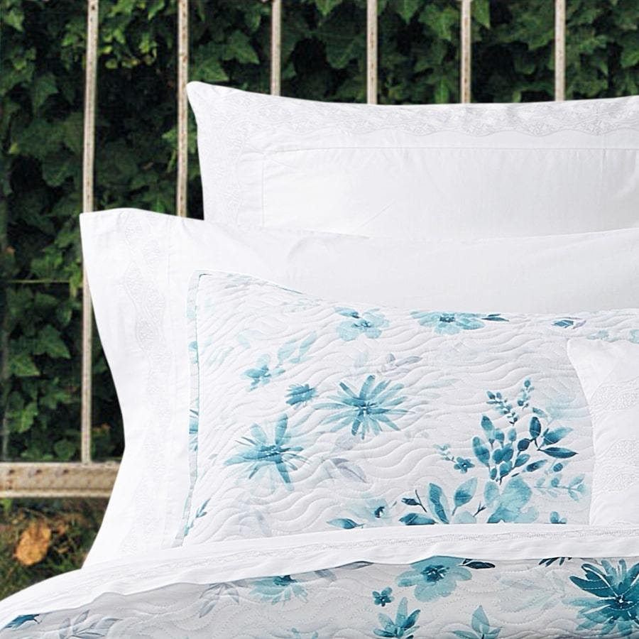100% cotton aqua white quilted doona cover set