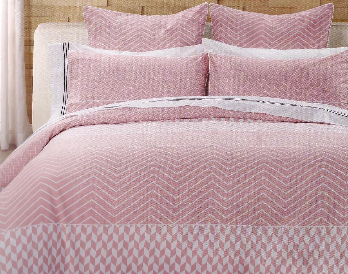 100% cotton Duvet cover set. Pink and white double quilt cover set.