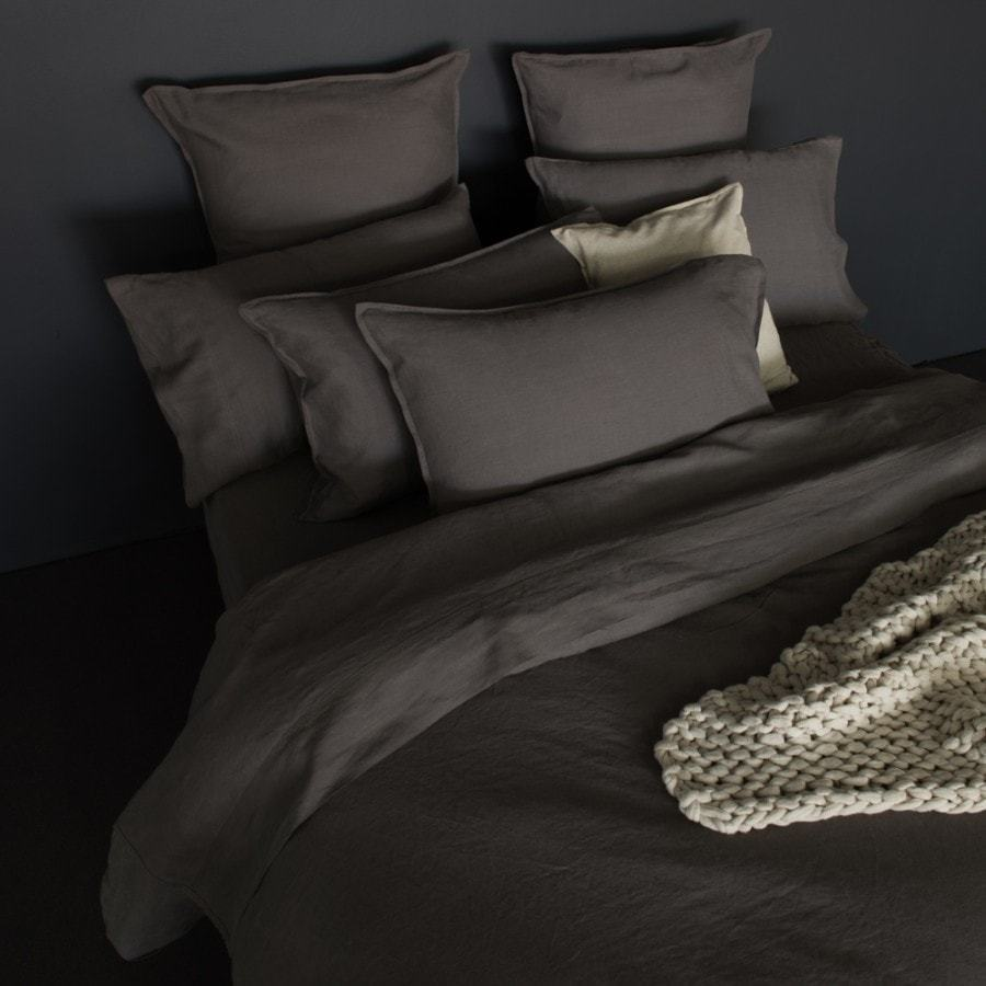 pure vintage washed linen charcoal quilt cover set