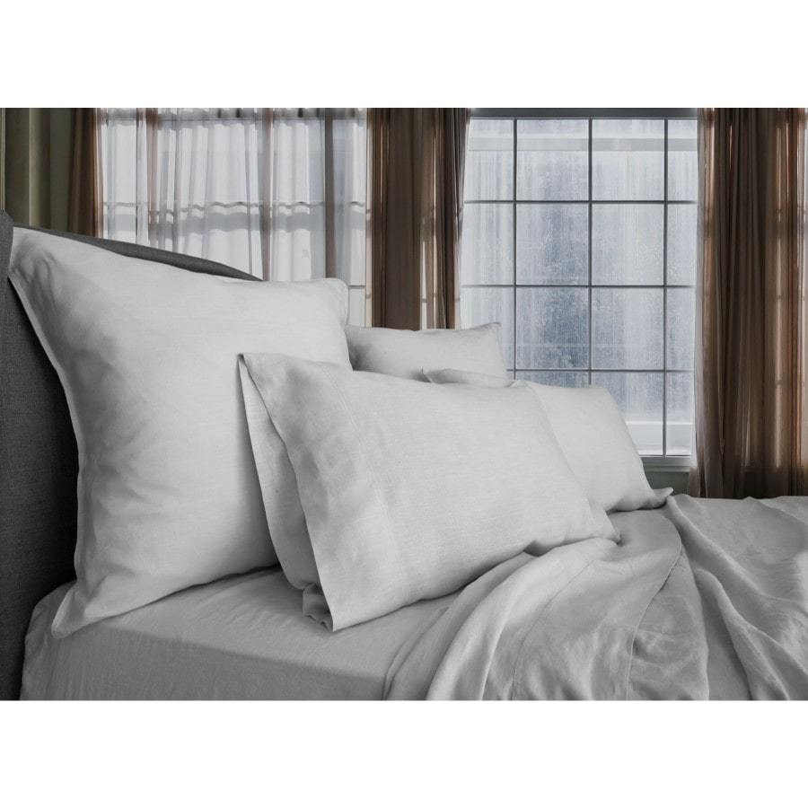 pure vintage washed linen silver quilt cover set