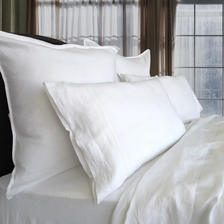 pure vintage washed linen white quilt cover set