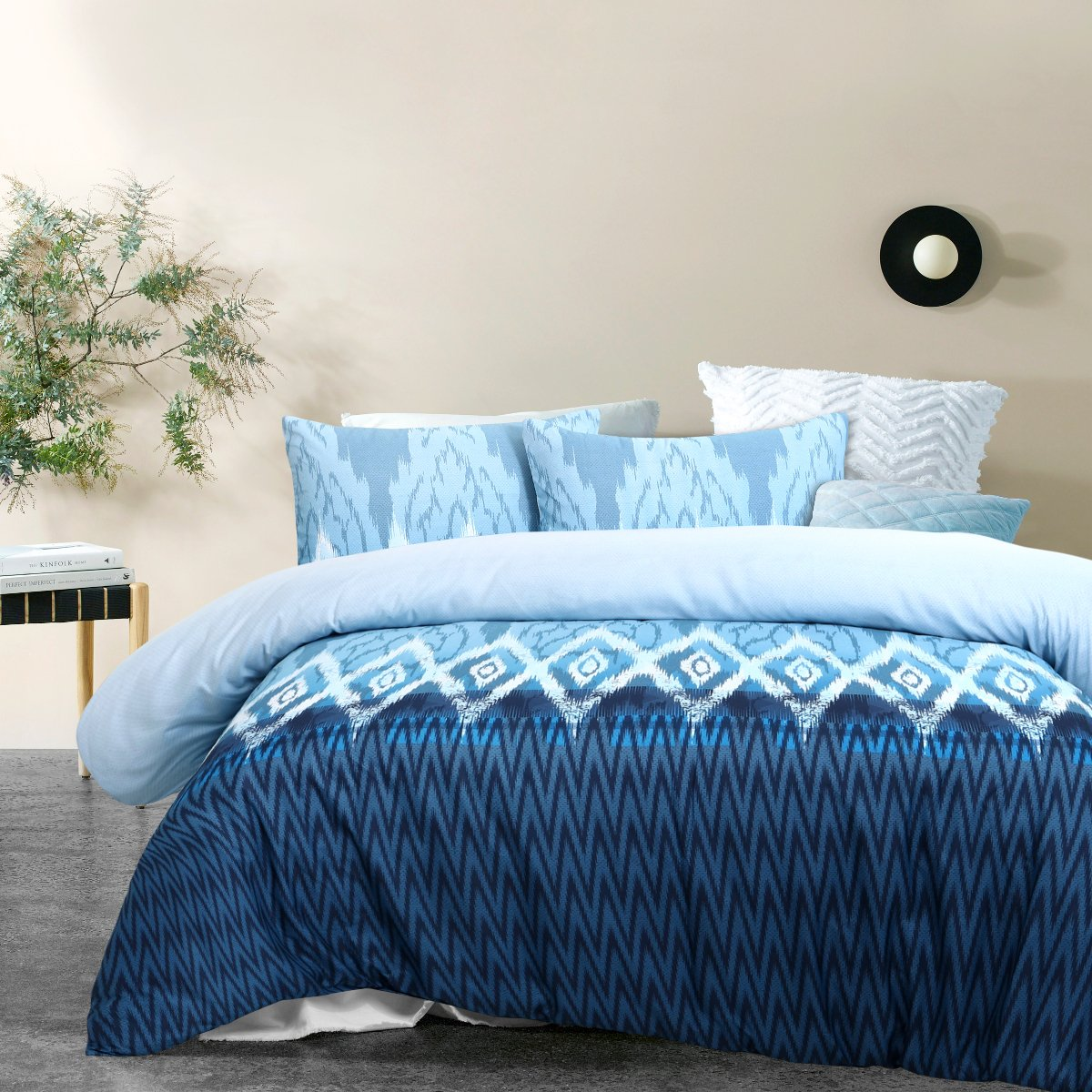 blue polyester quilt cover set