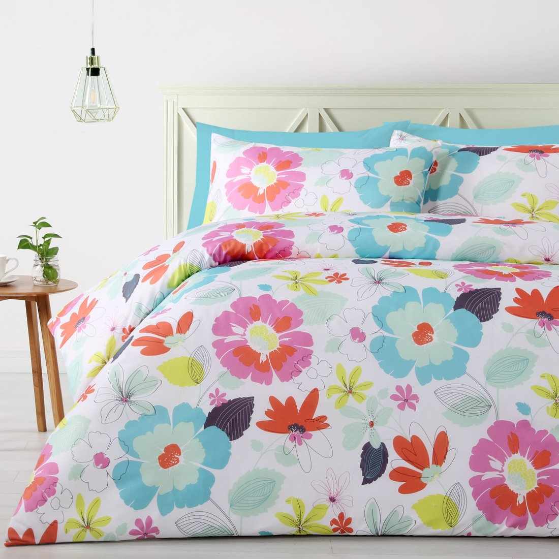 Pale Blue with floral print duvet cover set. 180TC soft feel, polyester quilt cover set.