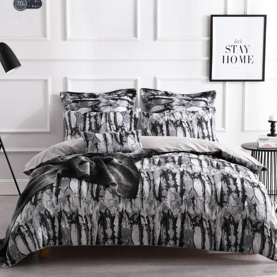 Marble black duvet cover set. Grey luxury jacquard quilt cover set.
