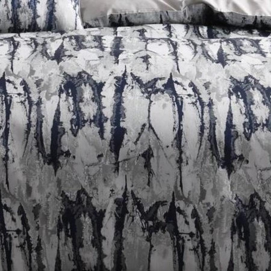 Marble navy duvet cover set. Grey luxury jacquard quilt cover set.