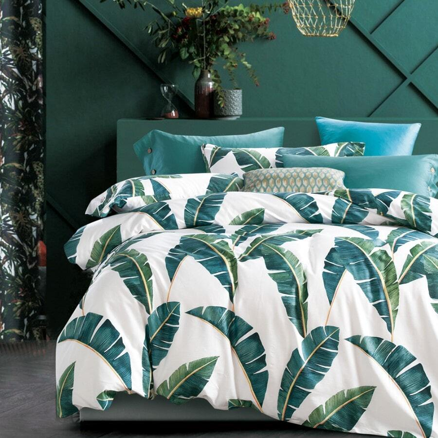 Ivory duvet cover set print palm trees