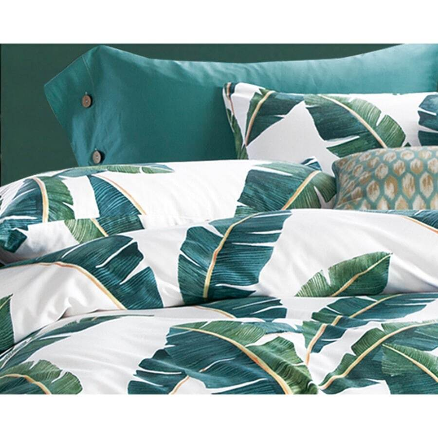 Ivroy green leaves quilt cover set 400 thread count