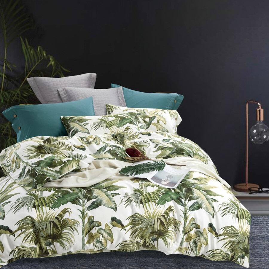 Natural ivory green duvet cover set print