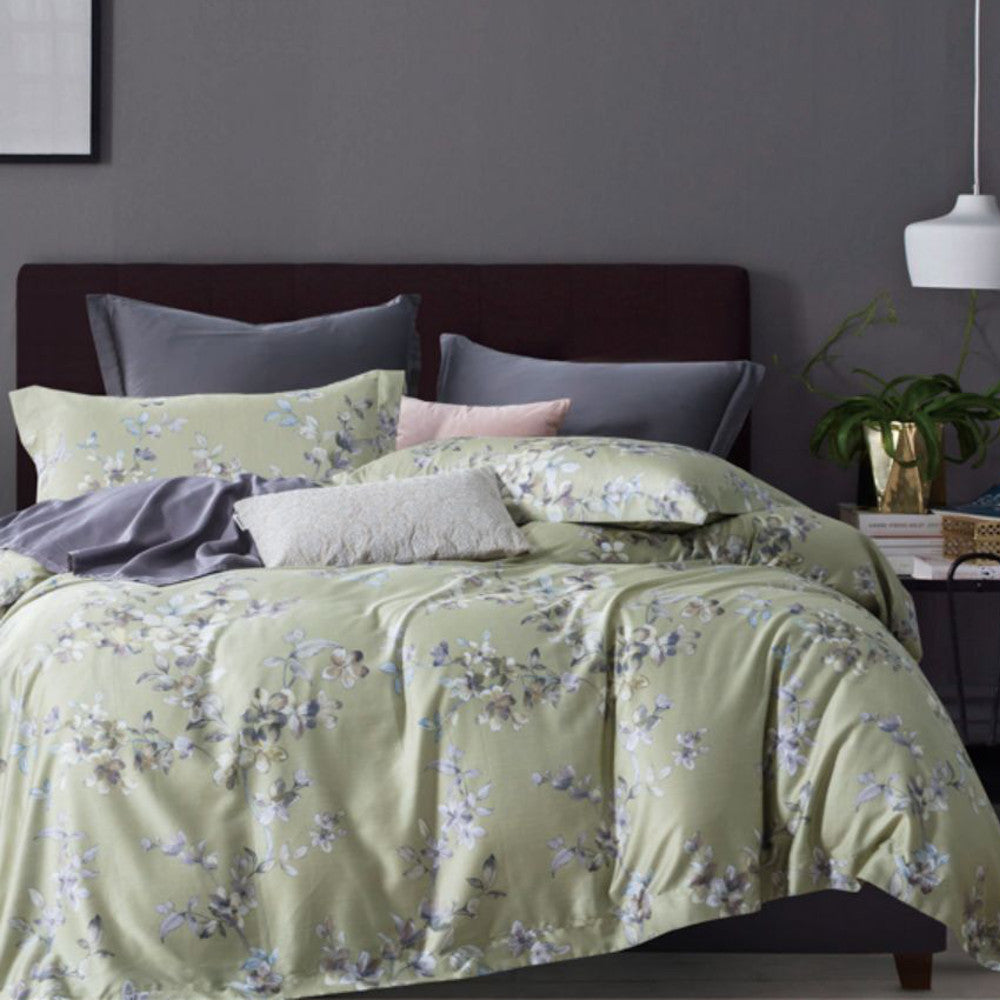 Pastel green queen , king and super king quilt cover set with dark grey reverse in 400 thread count 100% cotton.