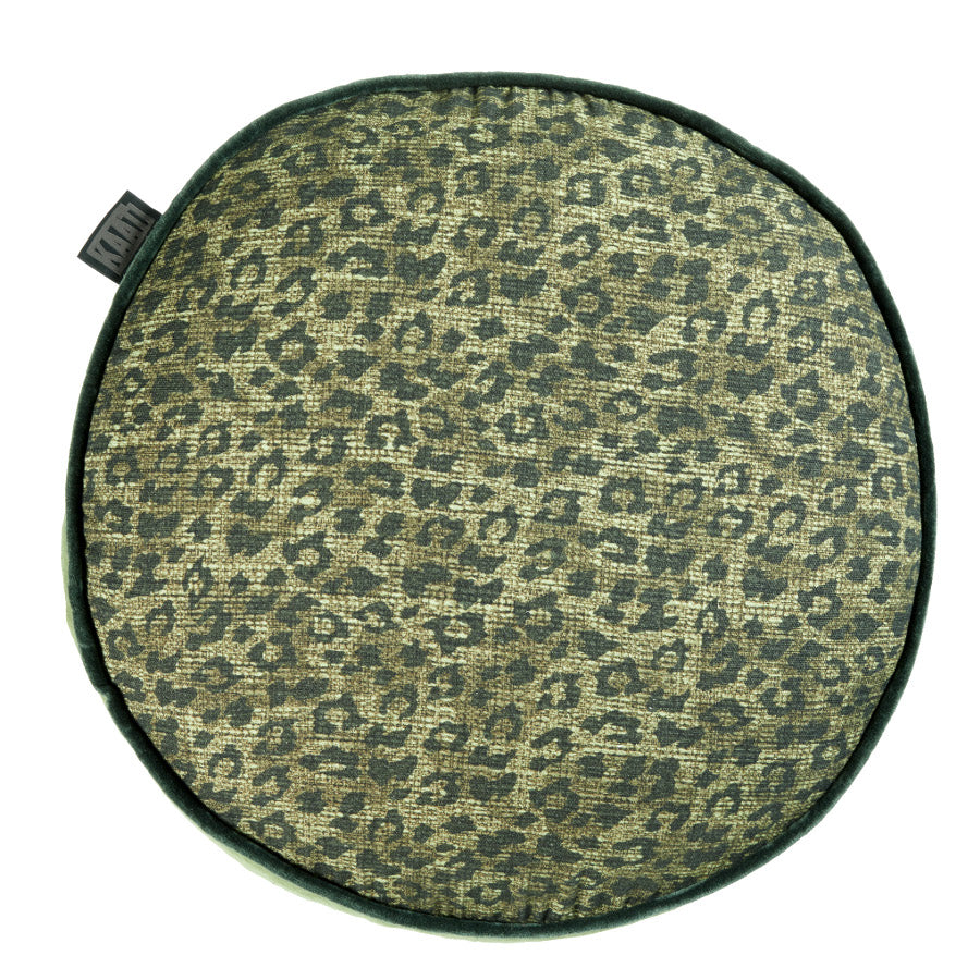 Pardus Green Leopard Filled Cushion