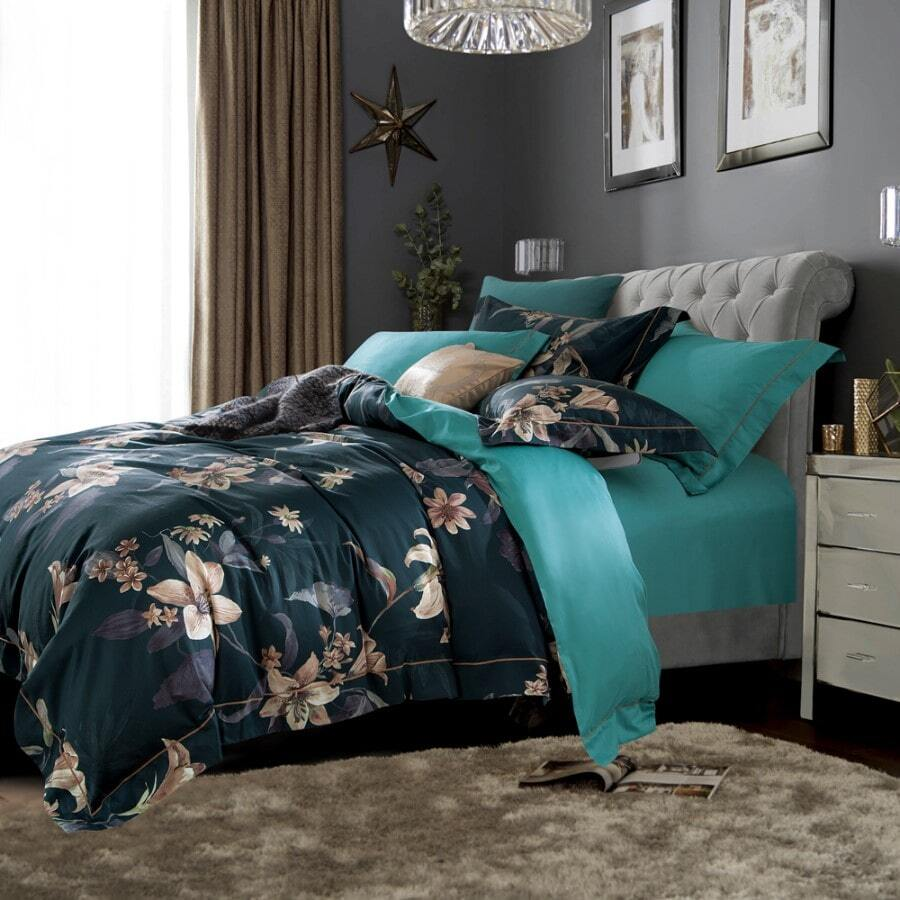 teal 400TC duvet cover set print