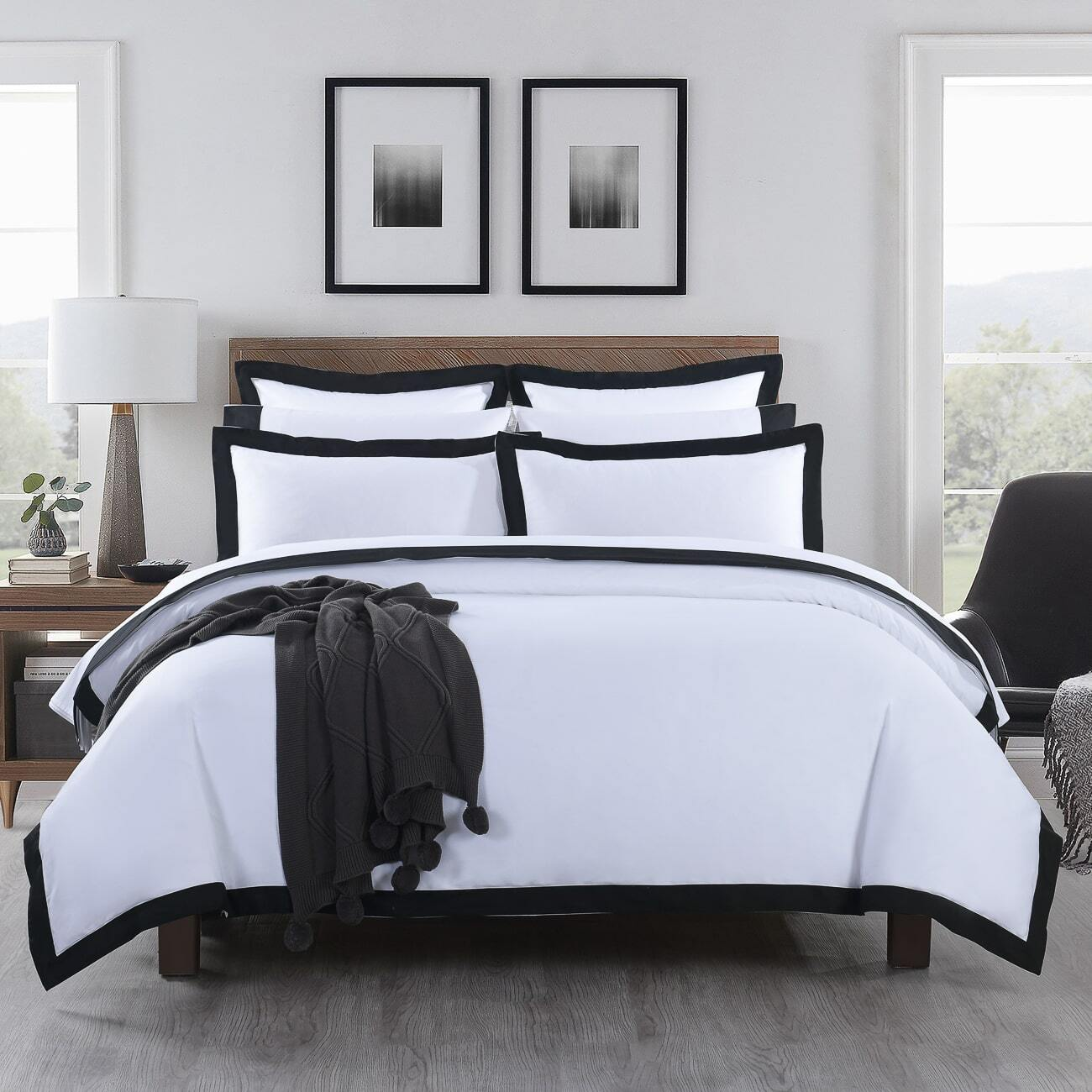 Plaza Black - 1000TC Cotton Quilt Cover Set