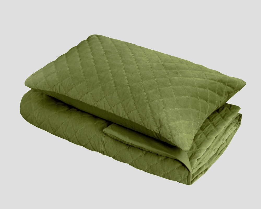 Mossy green quilted velvet duvet cover set queen king