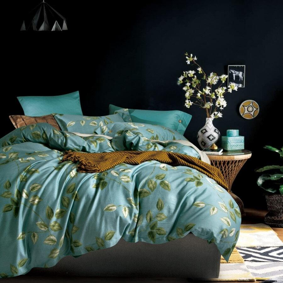 duvet cover set print 400TC minty green with leaves