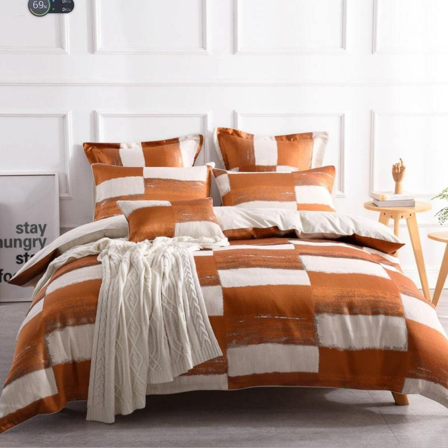 Rowan Orange duvet cover set. Linen luxury jacquard quilt cover set.