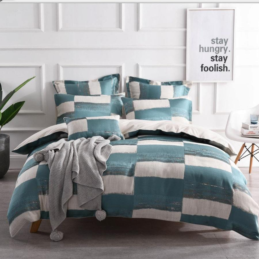 Rowan Teal duvet cover set. Linen luxury jacquard quilt cover set.