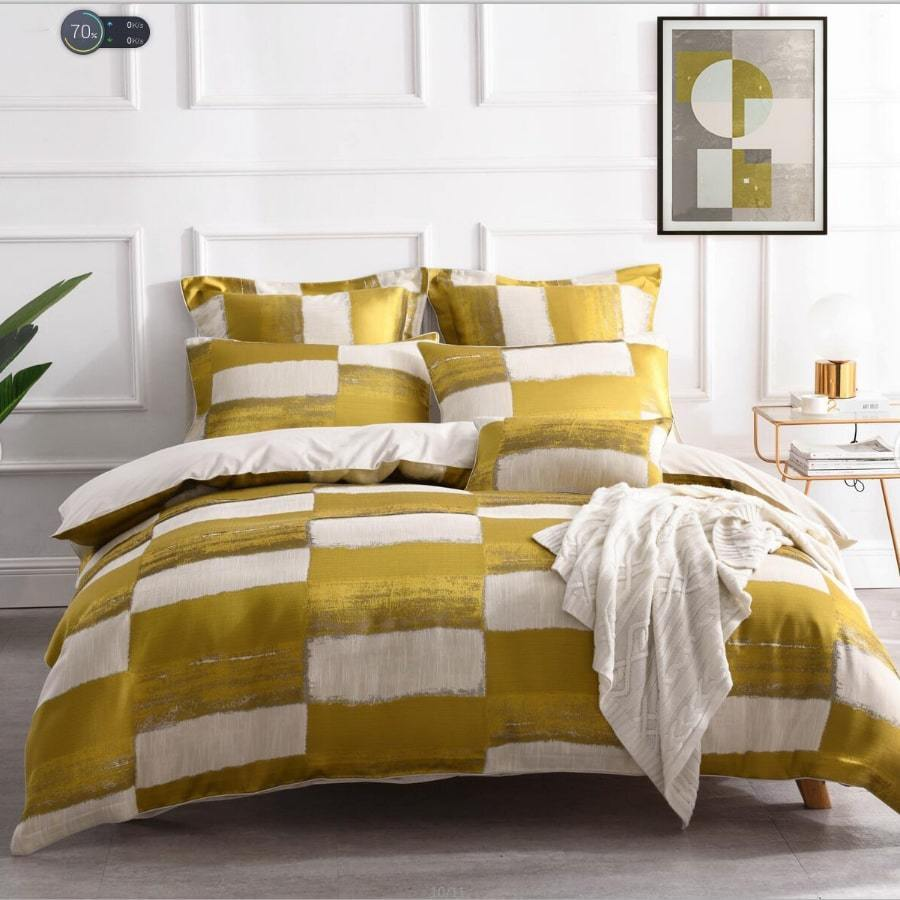 Rowan Yellow duvet cover set. Linen luxury jacquard quilt cover set.