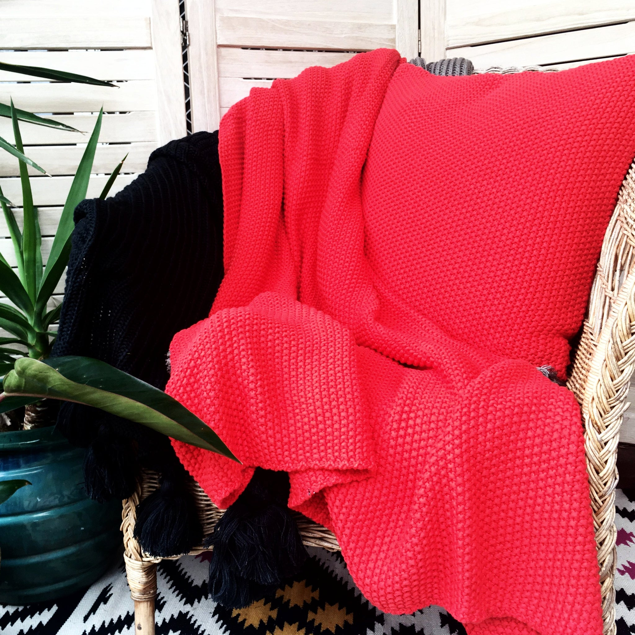 red seed stitch throw cotton