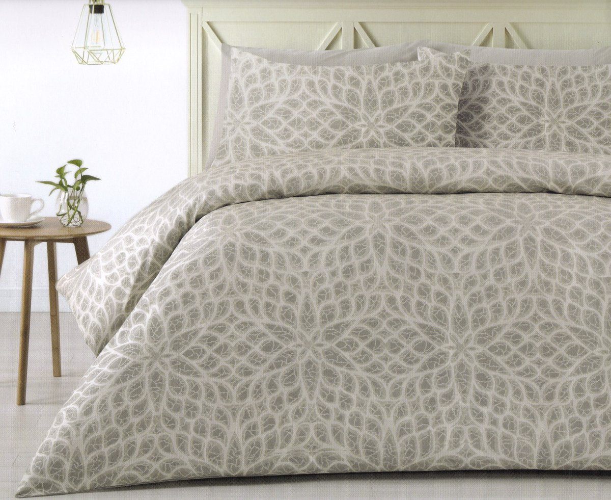 300TC beige and grey duvet cover set. Polyester jacquard quilt cover set.