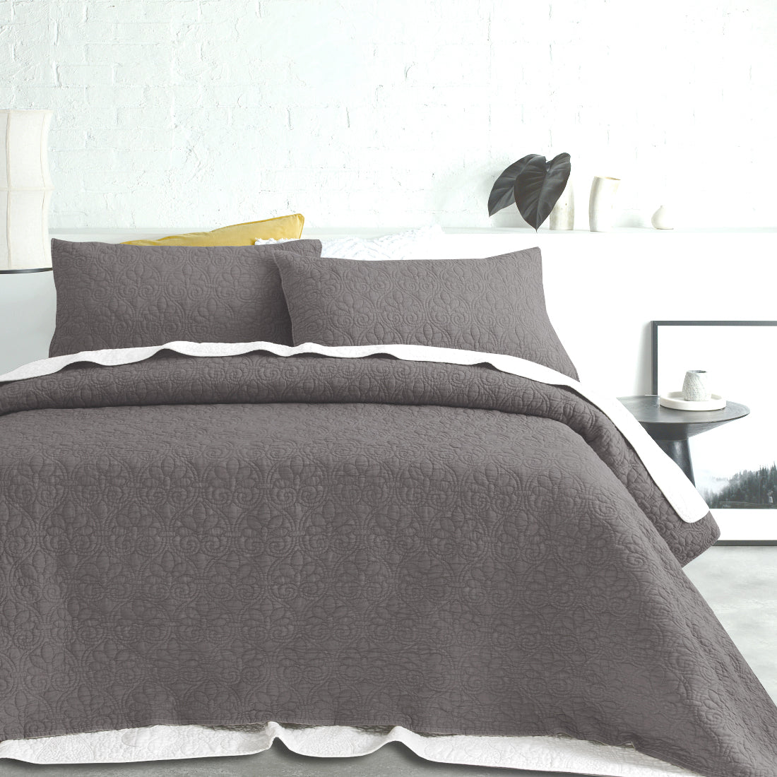 Stone-Washed Coverlet Set - Grey