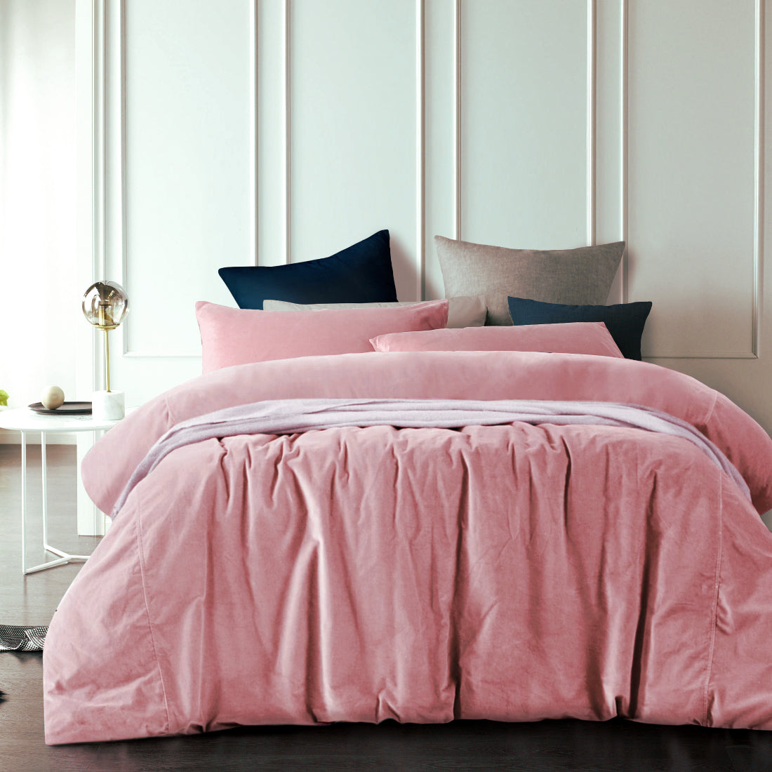 Smokey Rose Cotton Velvet Quilt Cover Set