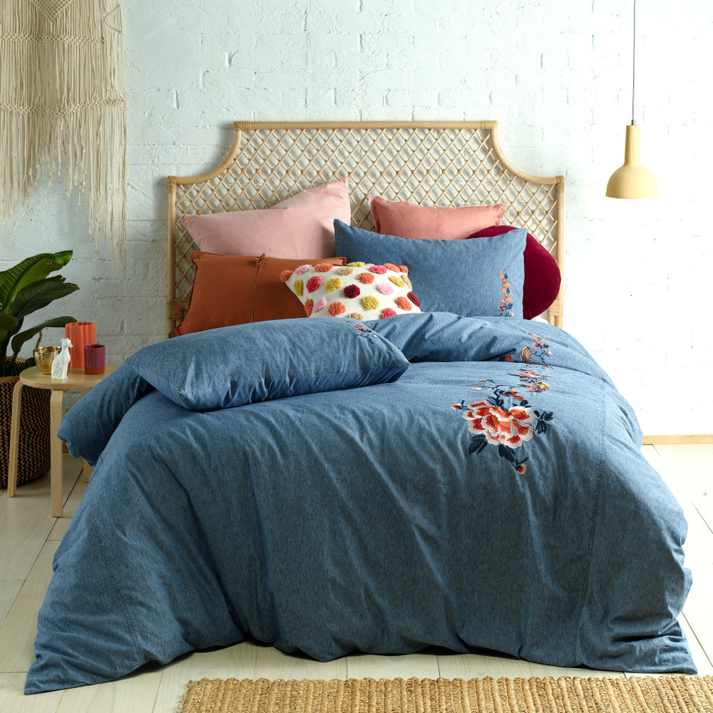 denim stonewashed embroidered quilt cover set