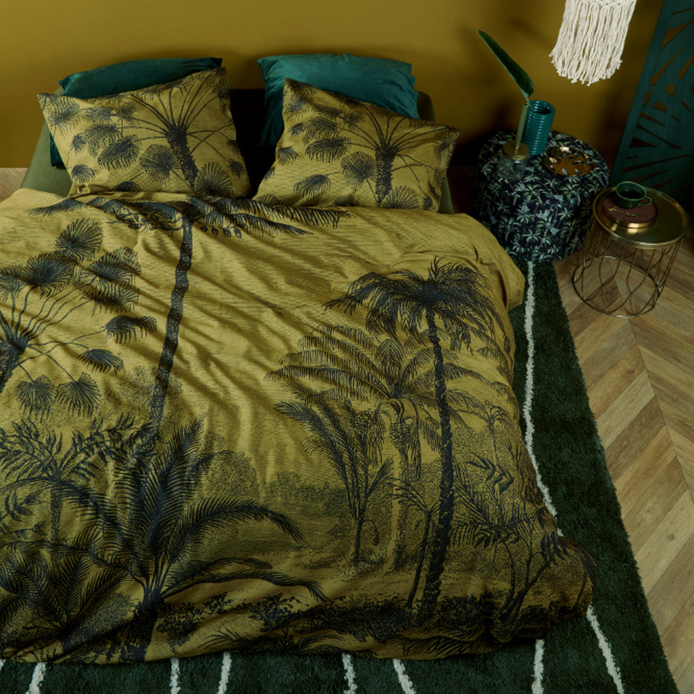 tour du monde botanical olive ochre quilt cover set