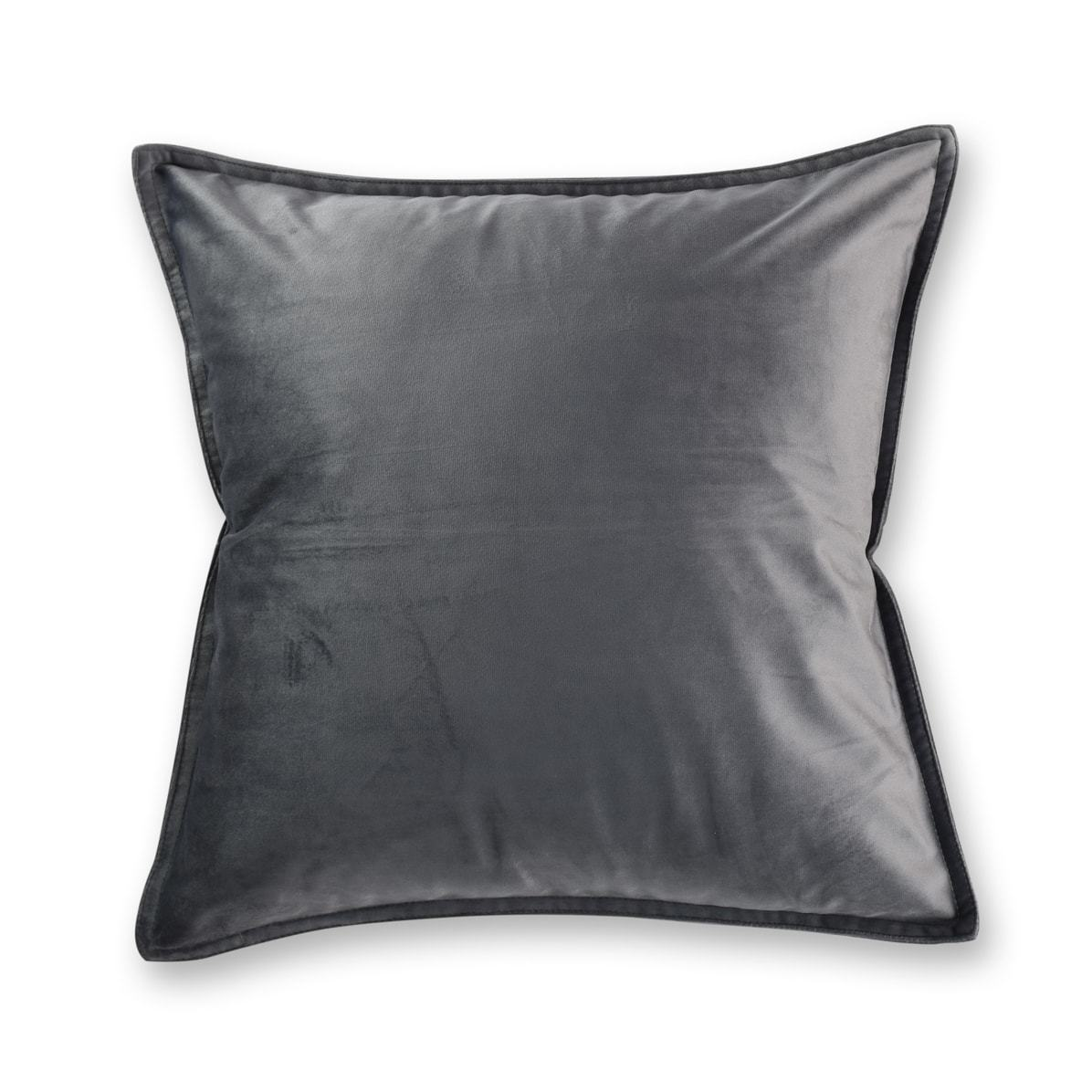 charcoal grey velvet european pillowcase