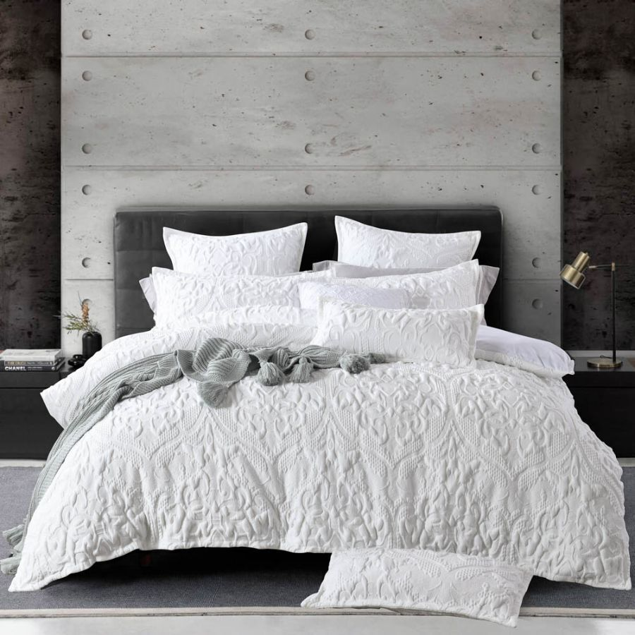 white amari quilt cover set soft luxury quilted effect