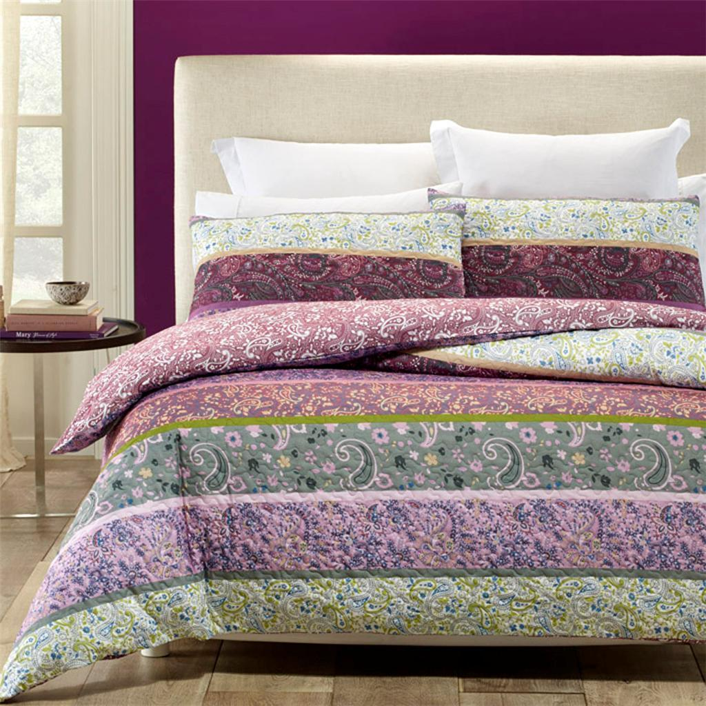 quilted effect, purple and white quilt cover set. Reversible duvet cover set.